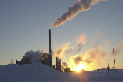 power plant in winter
